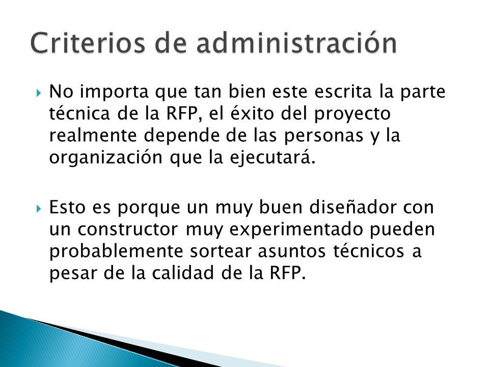 Criterios de administración