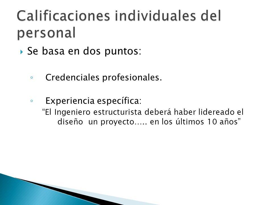 Calificaciones individuales del personal