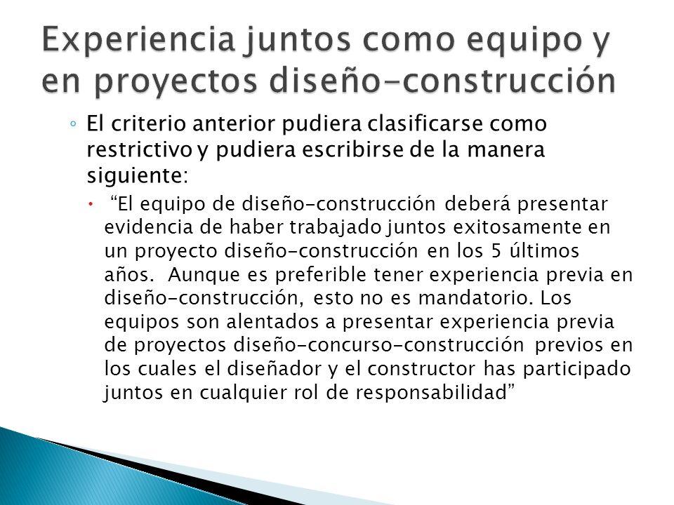 Experiencia juntos como equipo y en proyectos diseño-construcción