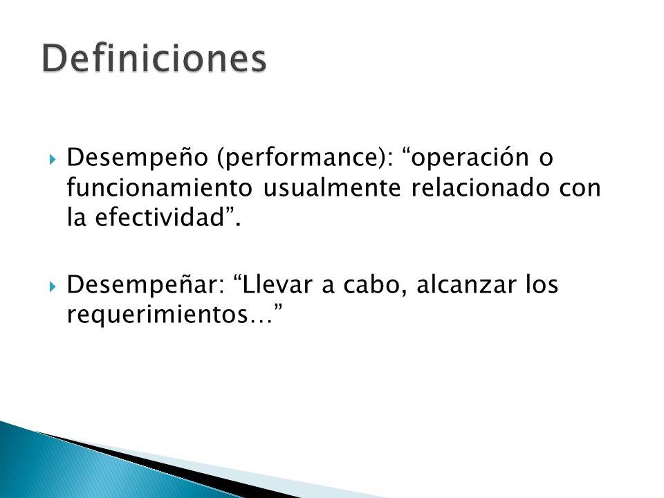 Definiciones Desempeño (performance): operación o funcionamiento usualmente relacionado con la efectividad .