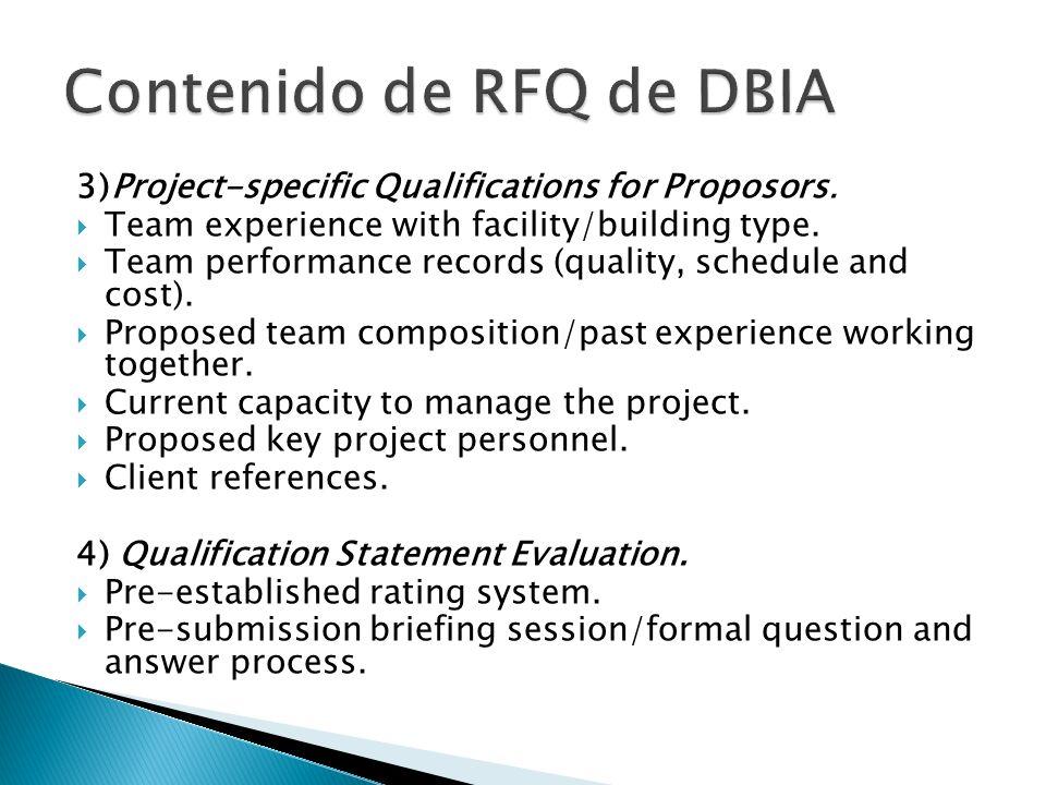 Contenido de RFQ de DBIA