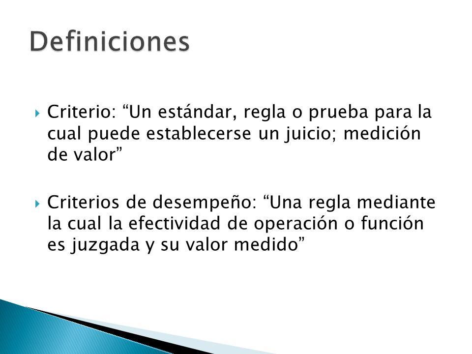 Definiciones Criterio: Un estándar, regla o prueba para la cual puede establecerse un juicio; medición de valor