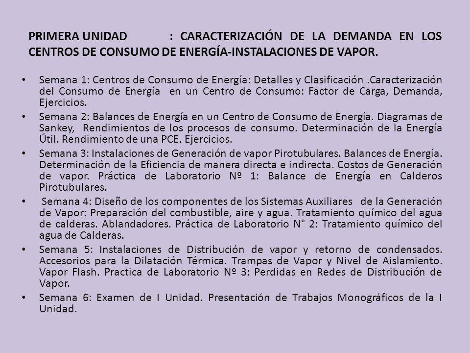 PRIMERA UNIDAD : CARACTERIZACIÓN DE LA DEMANDA EN LOS CENTROS DE CONSUMO DE ENERGÍA-INSTALACIONES DE VAPOR.