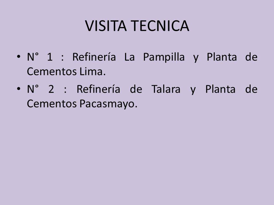 VISITA TECNICA N° 1 : Refinería La Pampilla y Planta de Cementos Lima.