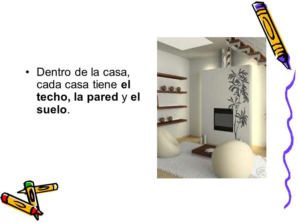 Dentro de la casa, cada casa tiene el techo, la pared y el suelo.