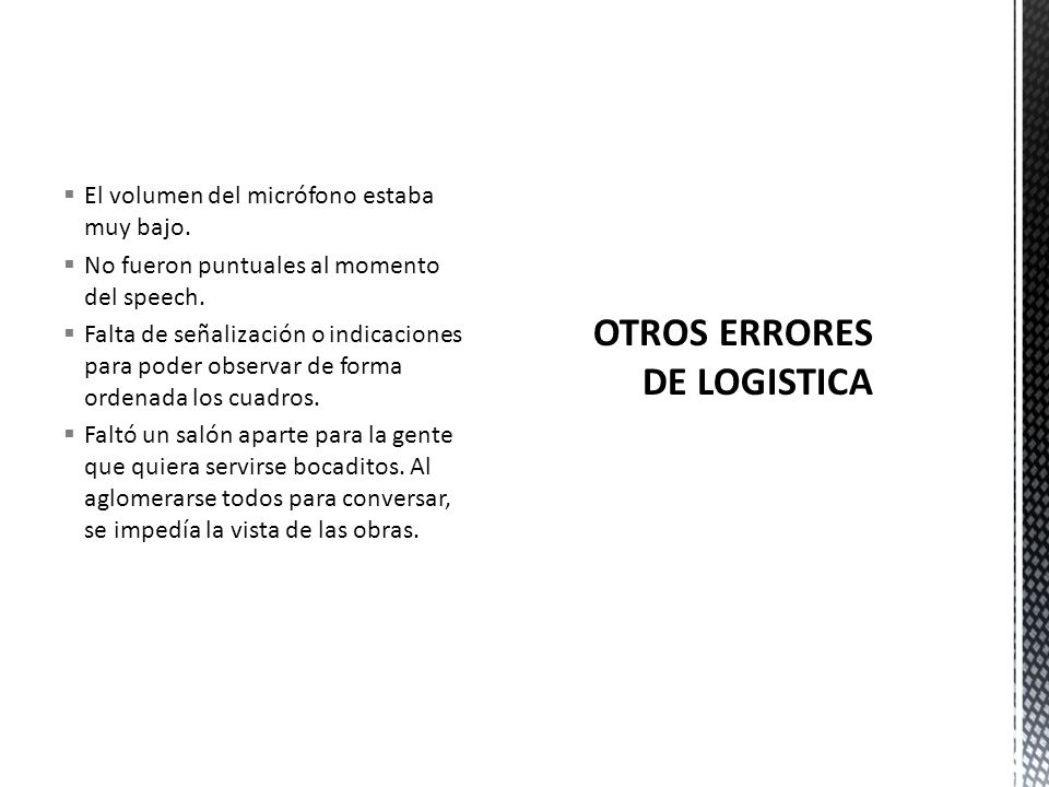 OTROS ERRORES DE LOGISTICA