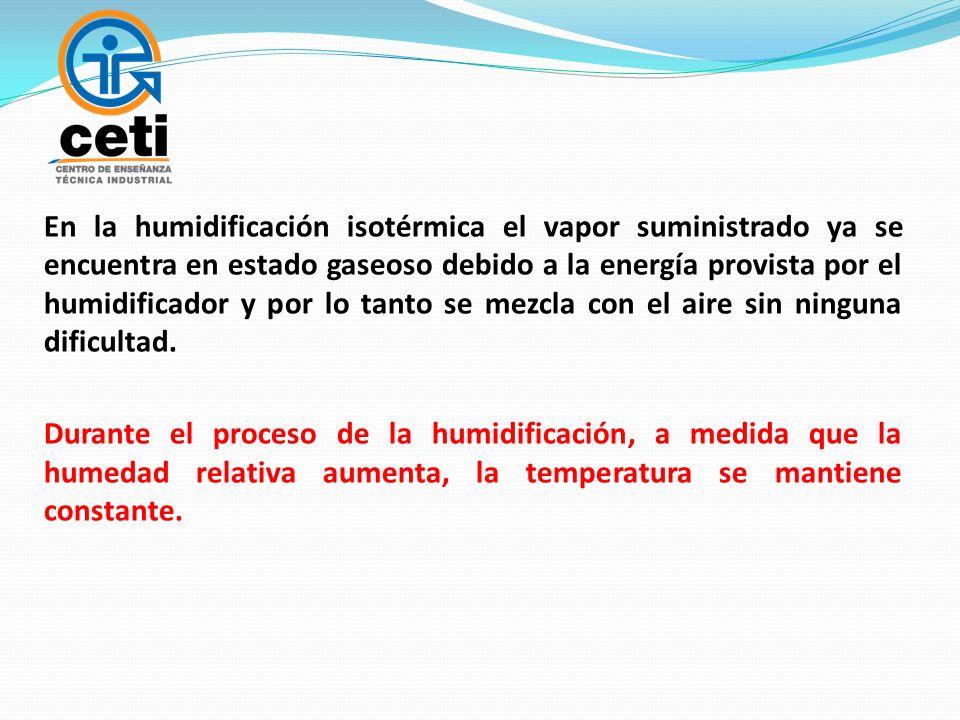 En la humidificación isotérmica el vapor suministrado ya se encuentra en estado gaseoso debido a la energía provista por el humidificador y por lo tanto se mezcla con el aire sin ninguna dificultad.