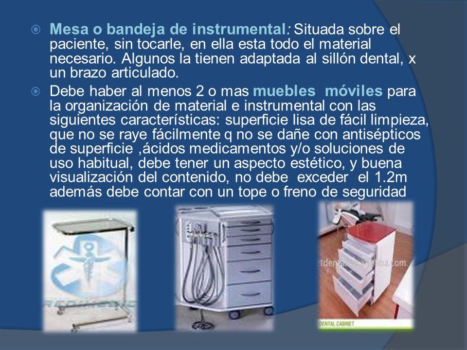 Mesa o bandeja de instrumental: Situada sobre el paciente, sin tocarle, en ella esta todo el material necesario. Algunos la tienen adaptada al sillón dental, x un brazo articulado.