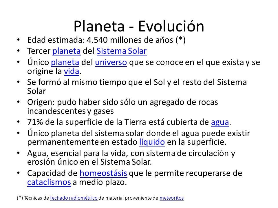 Planeta - Evolución Edad estimada: 4.540 millones de años (*)