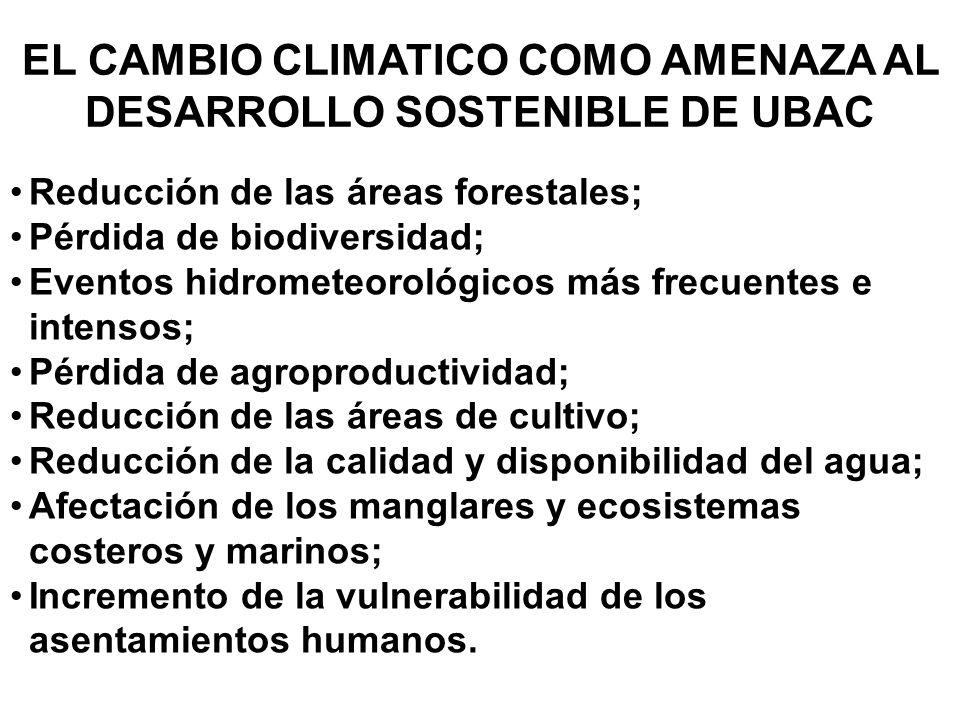 EL CAMBIO CLIMATICO COMO AMENAZA AL DESARROLLO SOSTENIBLE DE UBAC