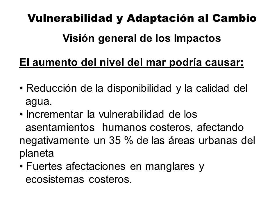 Vulnerabilidad y Adaptación al Cambio Visión general de los Impactos