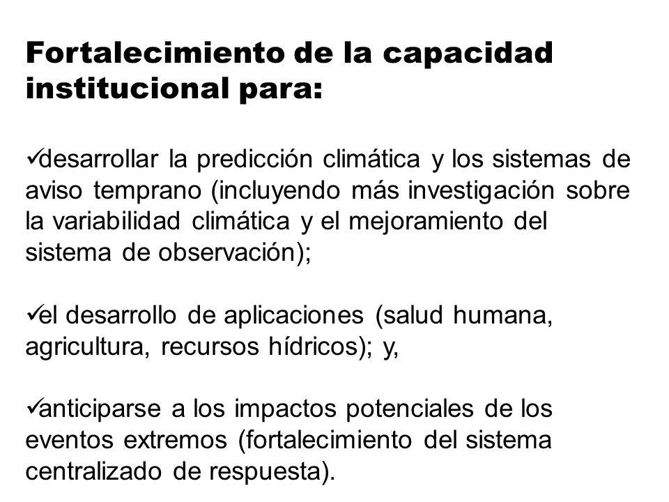 Fortalecimiento de la capacidad institucional para: