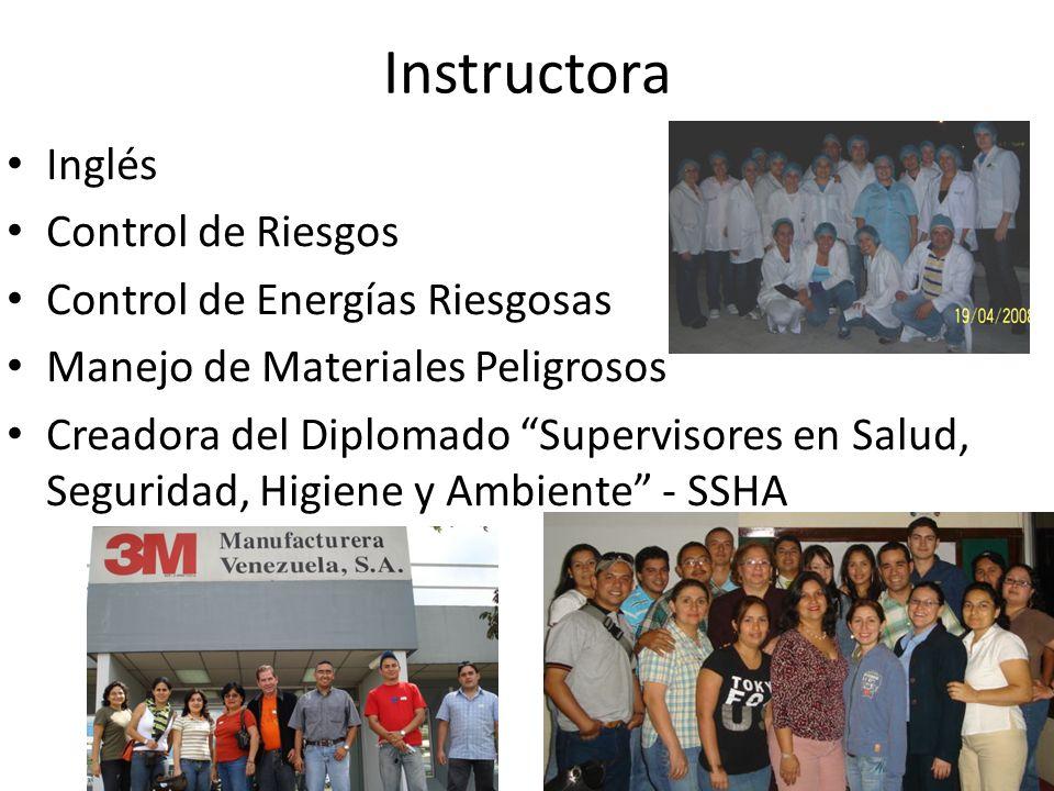 Instructora Inglés Control de Riesgos Control de Energías Riesgosas