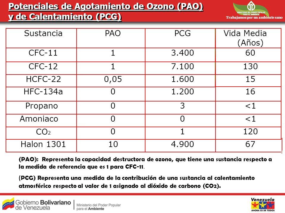 Potenciales de Agotamiento de Ozono (PAO) y de Calentamiento (PCG)