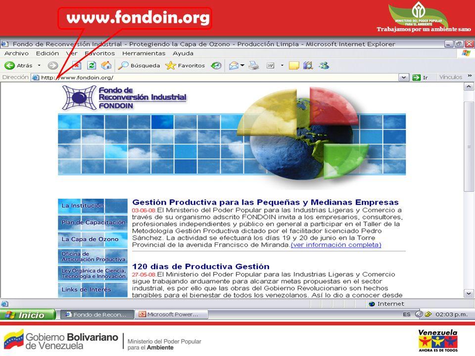 www.fondoin.org Trabajamos por un ambiente sano