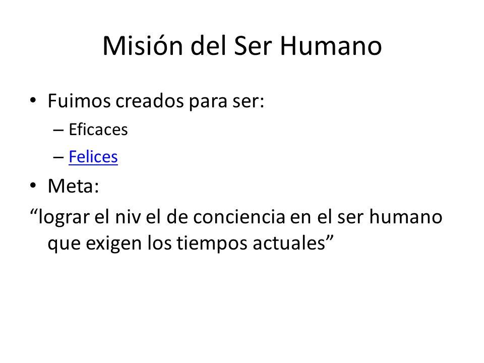 Misión del Ser Humano Fuimos creados para ser: Meta: