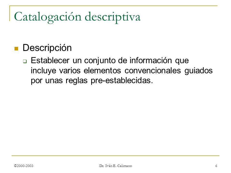 Catalogación descriptiva