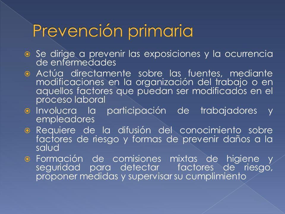 Prevención primaria Se dirige a prevenir las exposiciones y la ocurrencia de enfermedades.