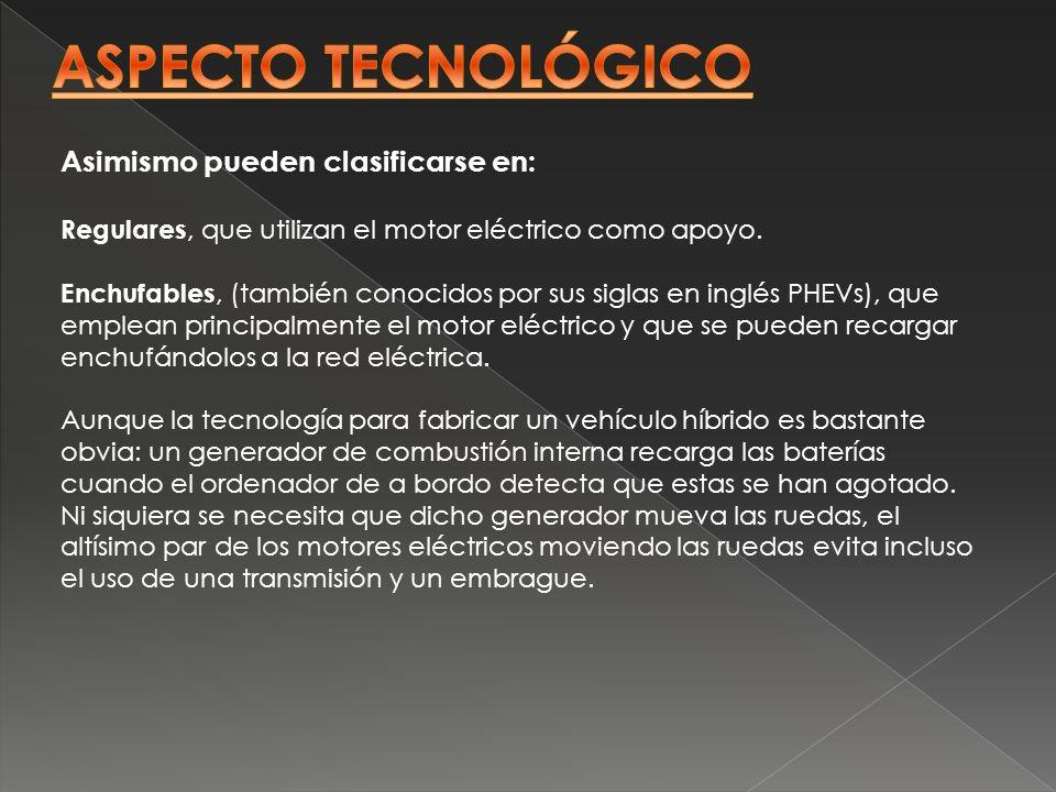 ASPECTO TECNOLÓGICO Asimismo pueden clasificarse en: