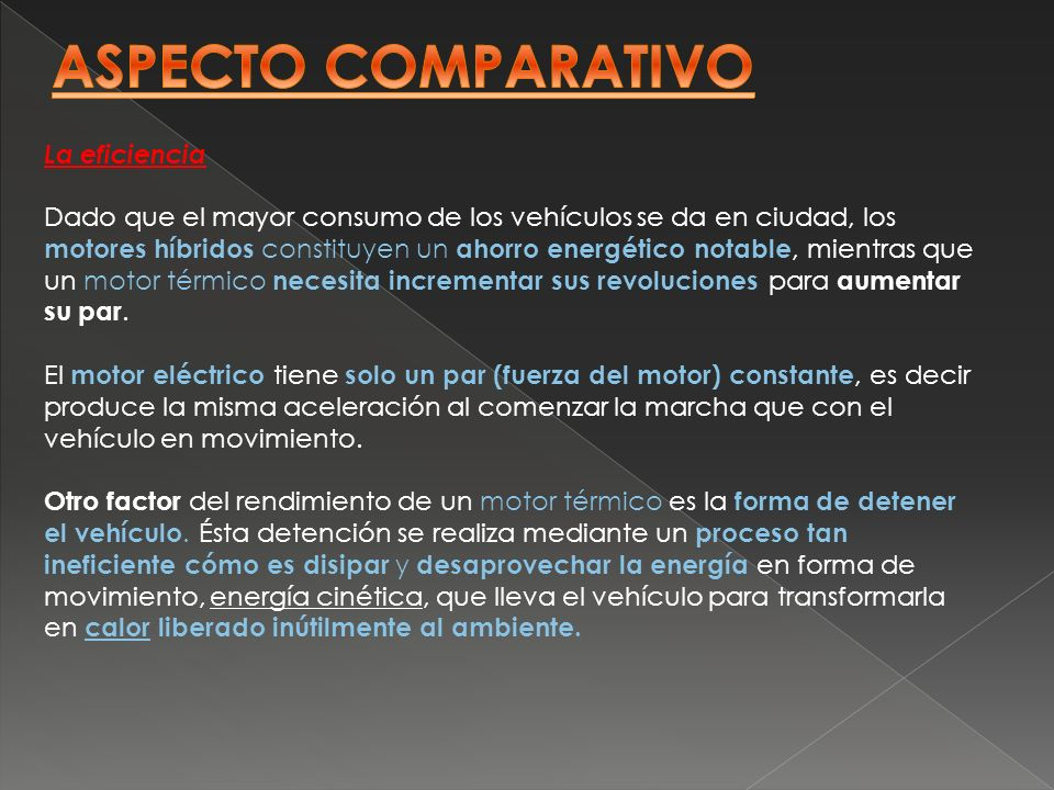 ASPECTO COMPARATIVO La eficiencia