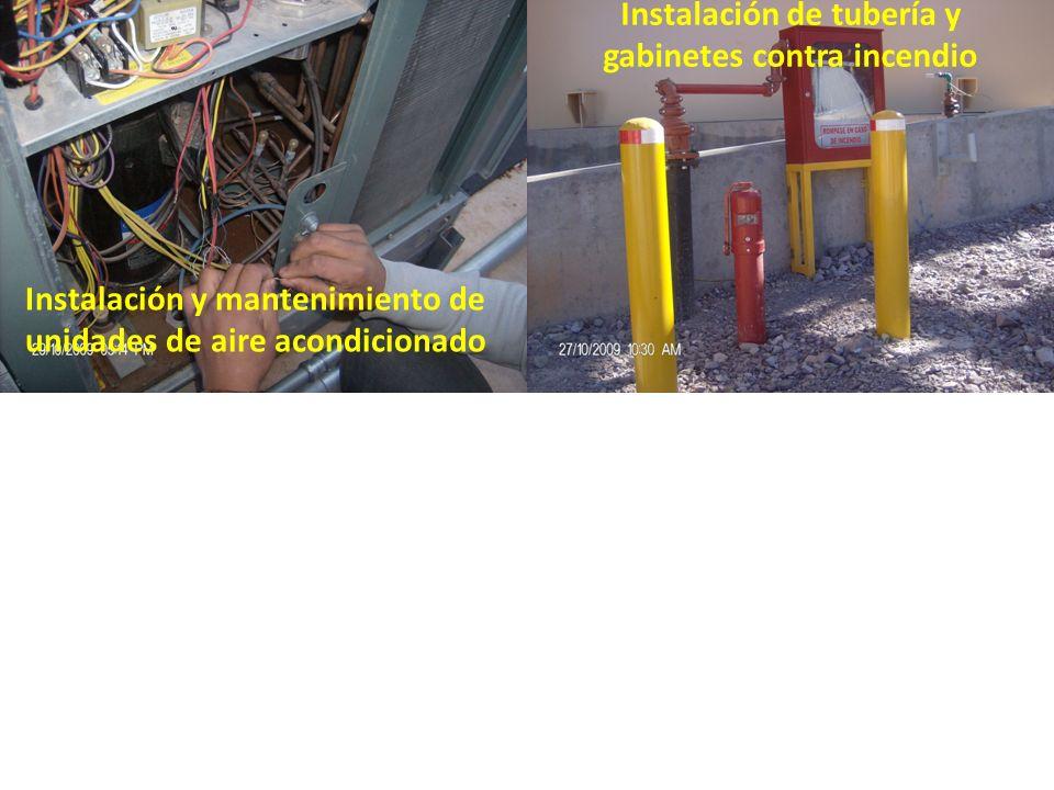 Instalación de tubería y gabinetes contra incendio