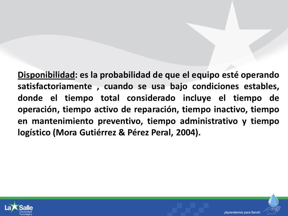 Disponibilidad: es la probabilidad de que el equipo esté operando satisfactoriamente , cuando se usa bajo condiciones estables, donde el tiempo total considerado incluye el tiempo de operación, tiempo activo de reparación, tiempo inactivo, tiempo en mantenimiento preventivo, tiempo administrativo y tiempo logístico (Mora Gutiérrez & Pérez Peral, 2004).