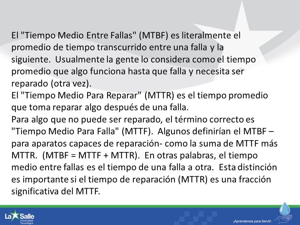 El Tiempo Medio Entre Fallas (MTBF) es literalmente el promedio de tiempo transcurrido entre una falla y la siguiente. Usualmente la gente lo considera como el tiempo promedio que algo funciona hasta que falla y necesita ser reparado (otra vez).