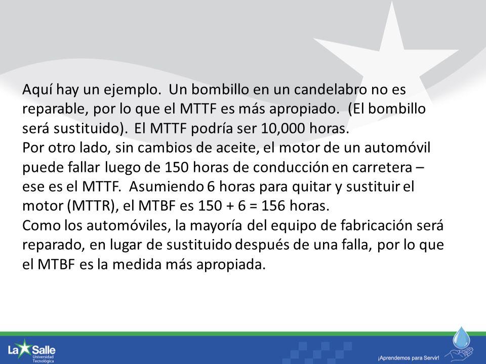 Aquí hay un ejemplo. Un bombillo en un candelabro no es reparable, por lo que el MTTF es más apropiado. (El bombillo será sustituido). El MTTF podría ser 10,000 horas.