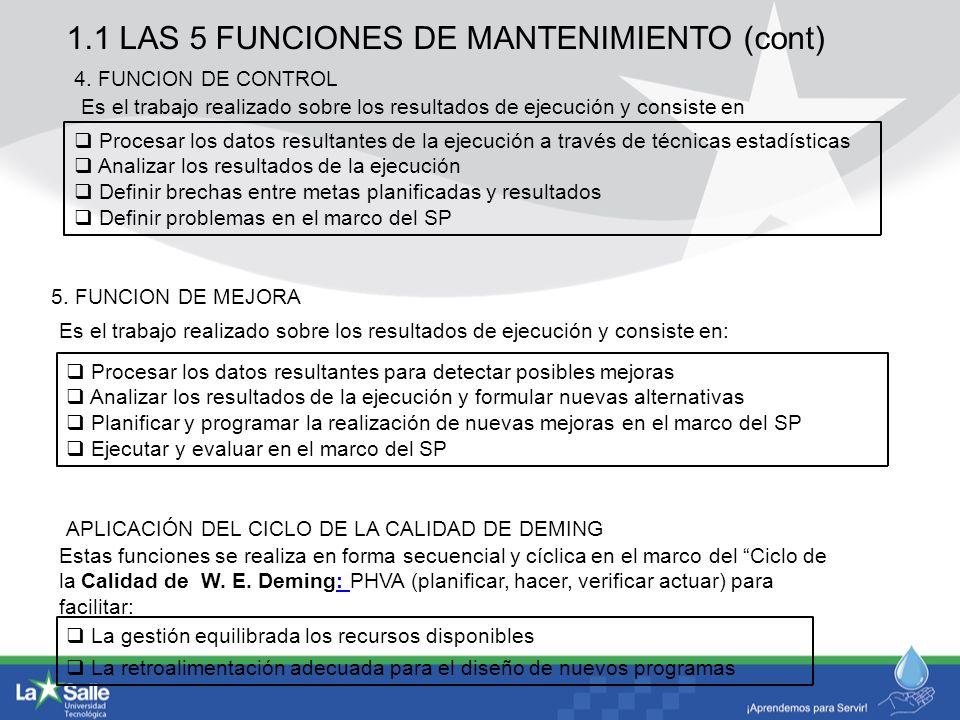 1.1 LAS 5 FUNCIONES DE MANTENIMIENTO (cont)