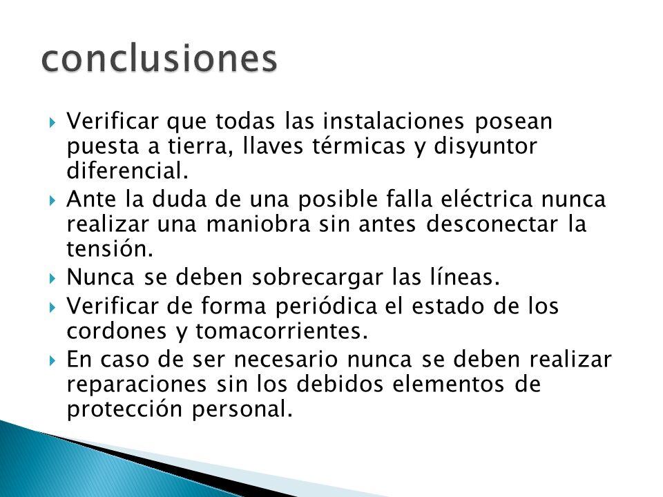 conclusiones Verificar que todas las instalaciones posean puesta a tierra, llaves térmicas y disyuntor diferencial.