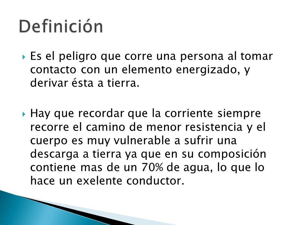 Definición Es el peligro que corre una persona al tomar contacto con un elemento energizado, y derivar ésta a tierra.