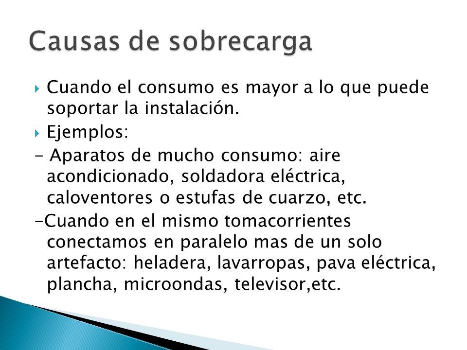 Causas de sobrecarga Cuando el consumo es mayor a lo que puede soportar la instalación. Ejemplos: