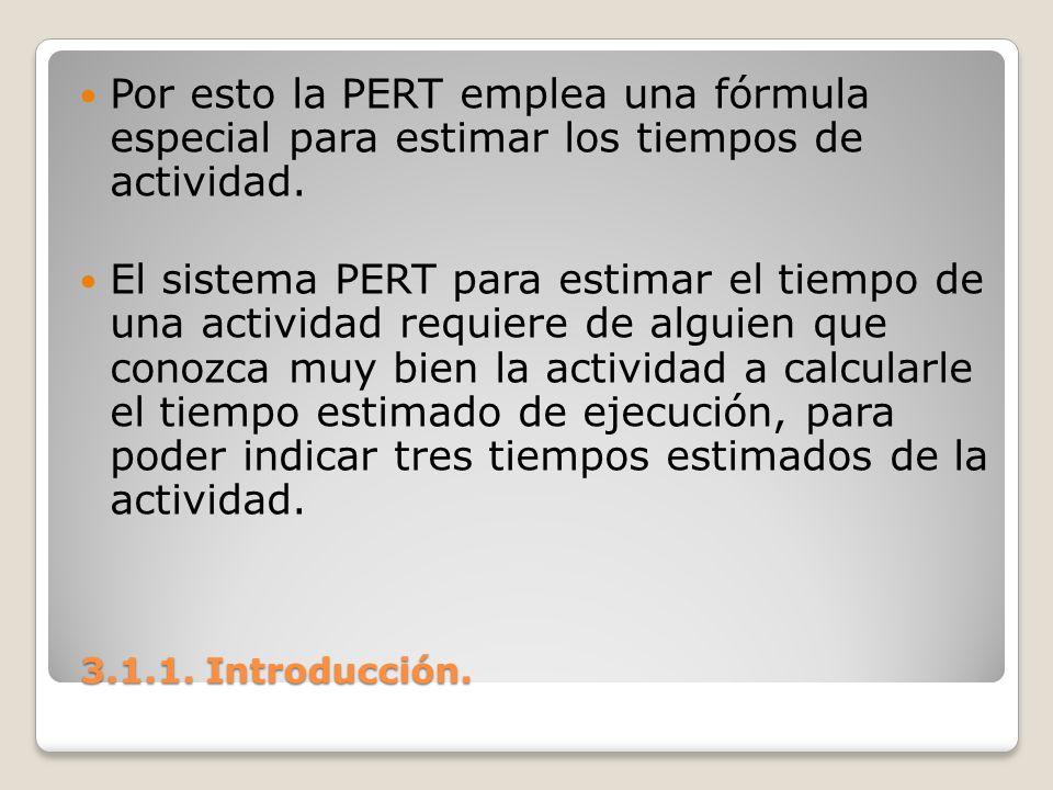 Por esto la PERT emplea una fórmula especial para estimar los tiempos de actividad.