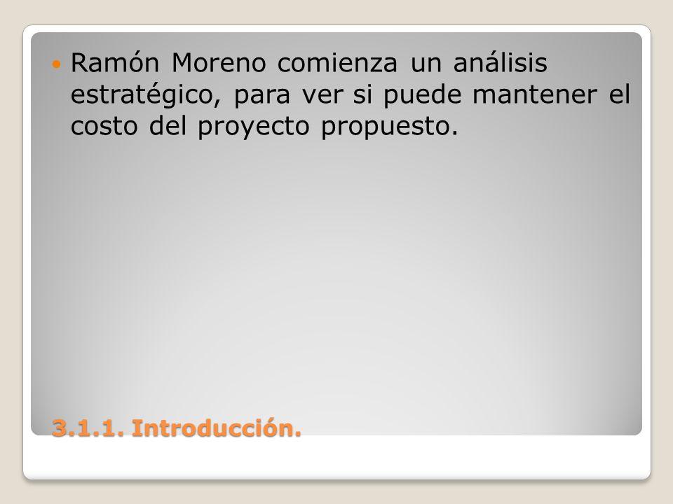 Ramón Moreno comienza un análisis estratégico, para ver si puede mantener el costo del proyecto propuesto.