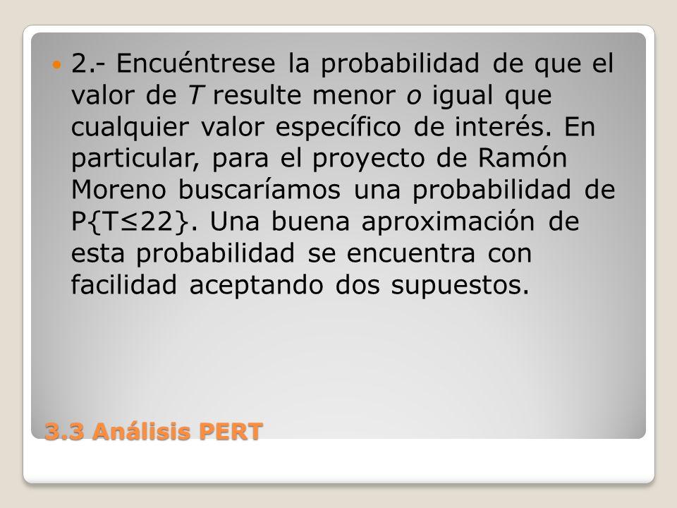 2.- Encuéntrese la probabilidad de que el valor de T resulte menor o igual que cualquier valor específico de interés. En particular, para el proyecto de Ramón Moreno buscaríamos una probabilidad de P{T≤22}. Una buena aproximación de esta probabilidad se encuentra con facilidad aceptando dos supuestos.