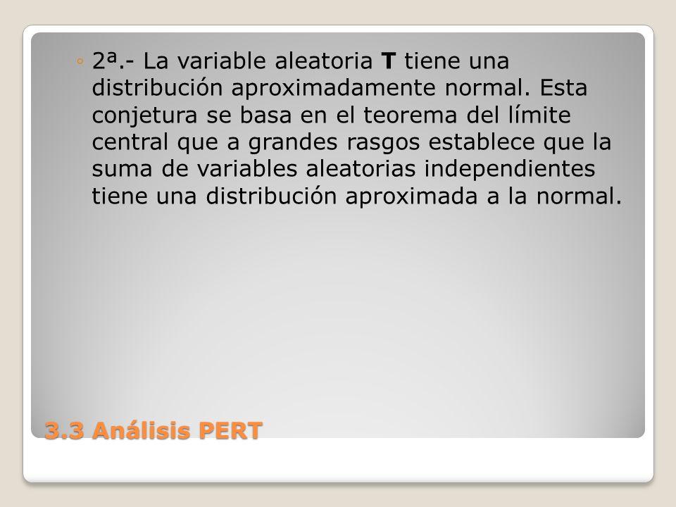 2ª.- La variable aleatoria T tiene una distribución aproximadamente normal. Esta conjetura se basa en el teorema del límite central que a grandes rasgos establece que la suma de variables aleatorias independientes tiene una distribución aproximada a la normal.