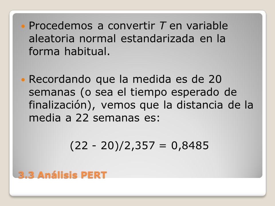 Procedemos a convertir T en variable aleatoria normal estandarizada en la forma habitual.