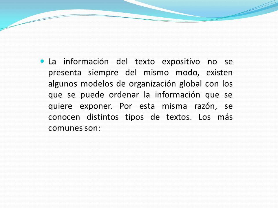 La información del texto expositivo no se presenta siempre del mismo modo, existen algunos modelos de organización global con los que se puede ordenar la información que se quiere exponer.