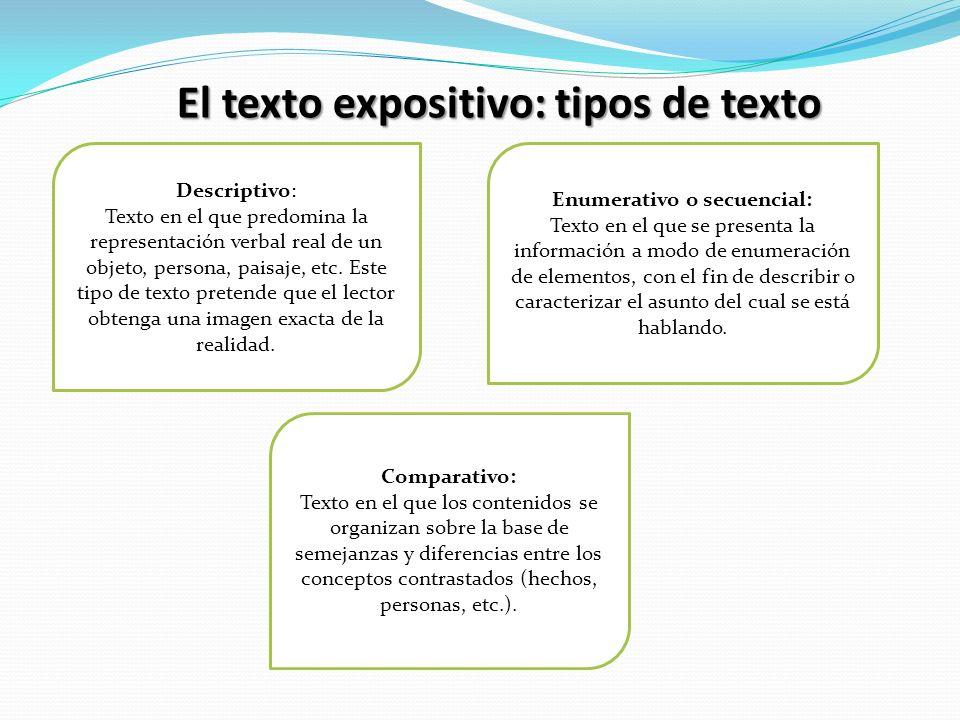 El texto expositivo: tipos de texto