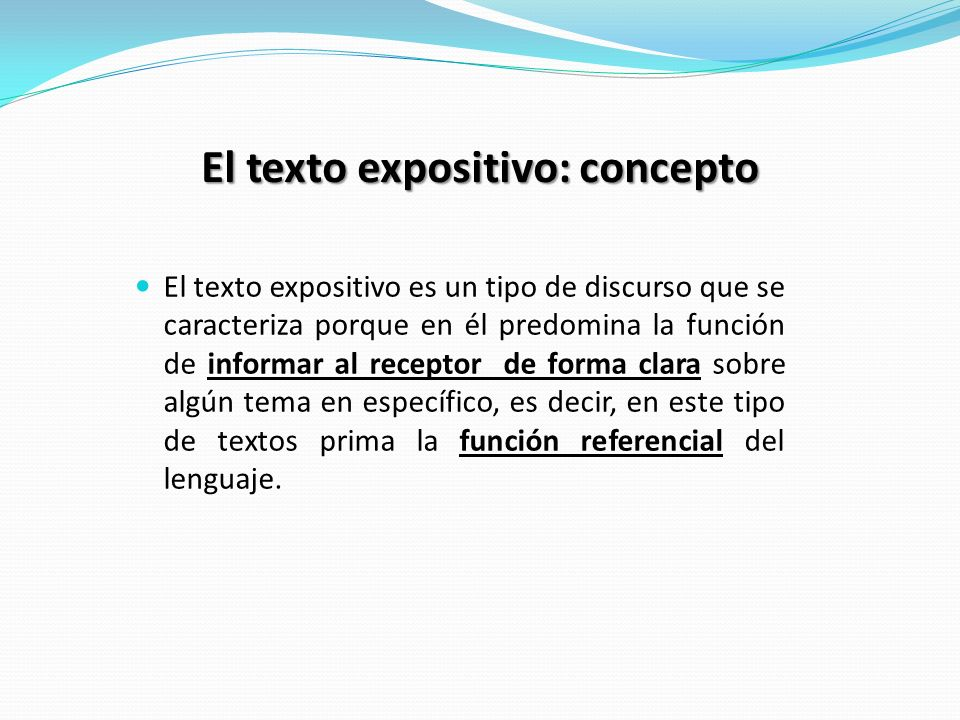 El texto expositivo: concepto