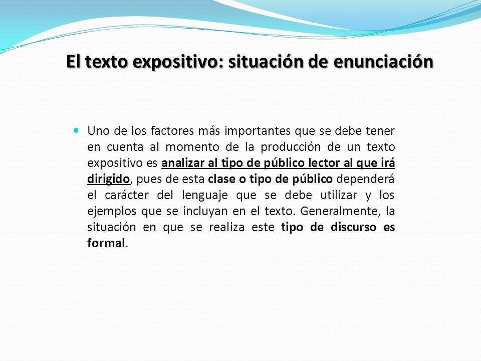 El texto expositivo: situación de enunciación