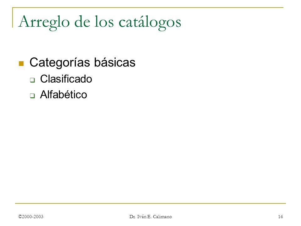 Arreglo de los catálogos
