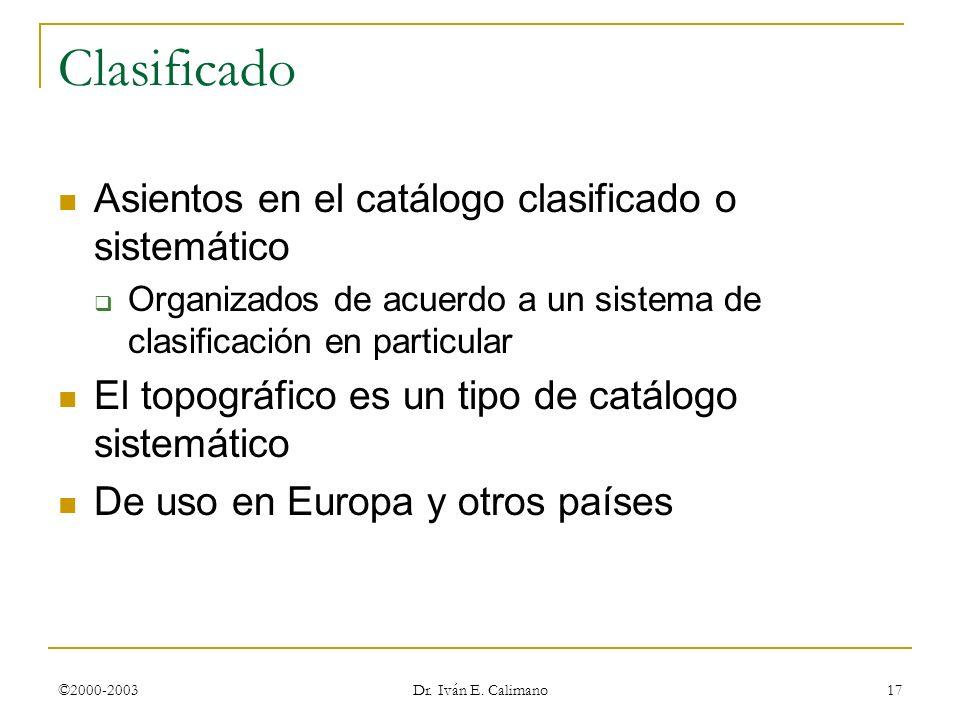 Clasificado Asientos en el catálogo clasificado o sistemático