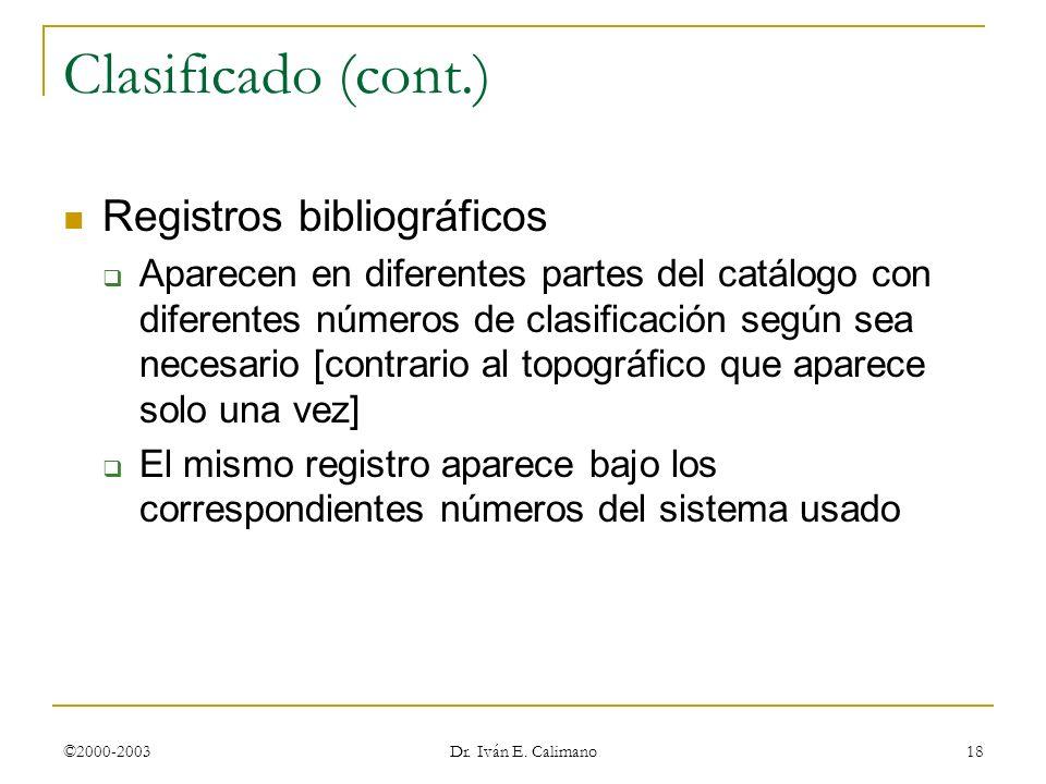 Clasificado (cont.) Registros bibliográficos