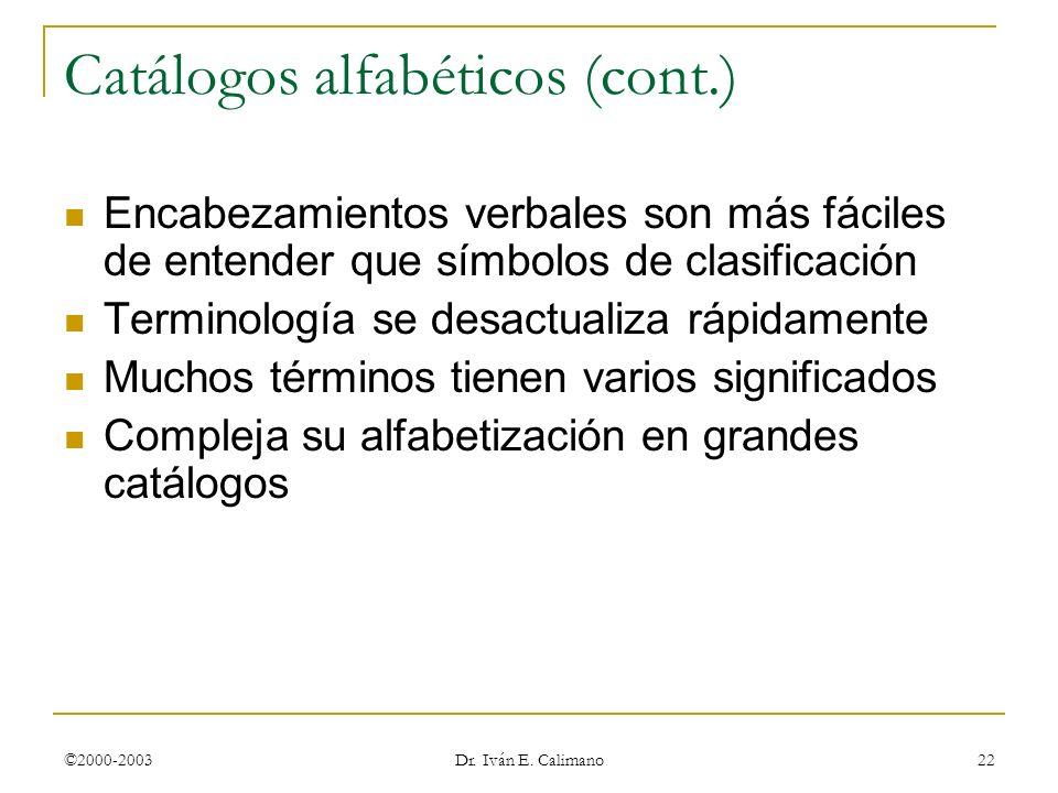 Catálogos alfabéticos (cont.)