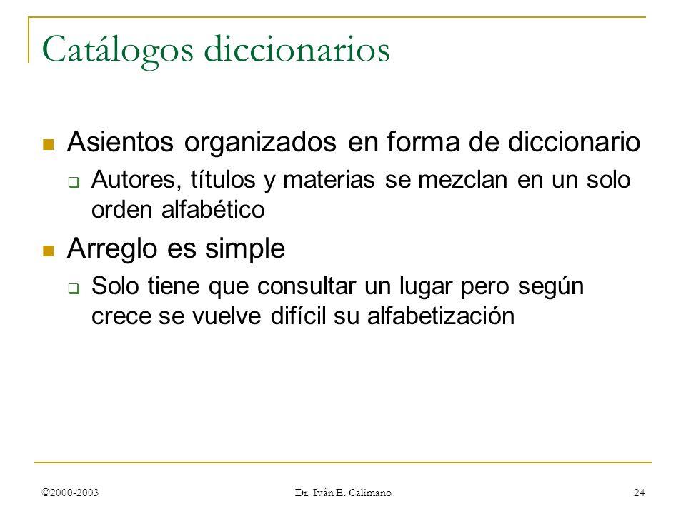 Catálogos diccionarios