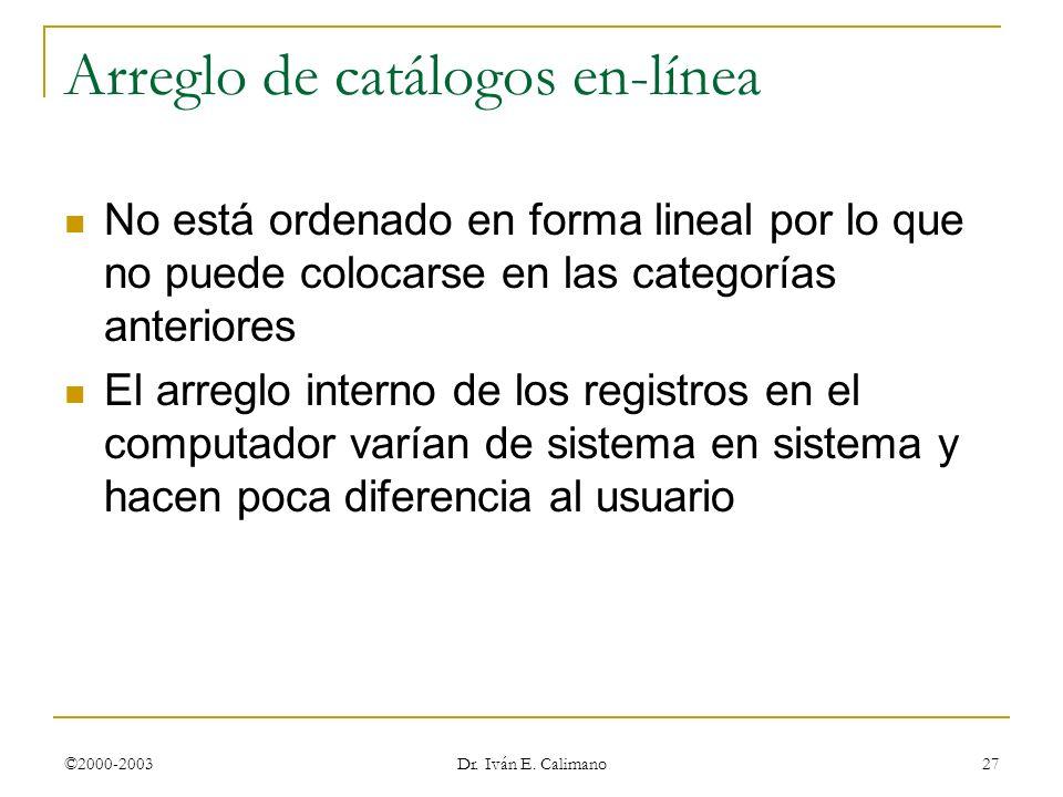 Arreglo de catálogos en-línea