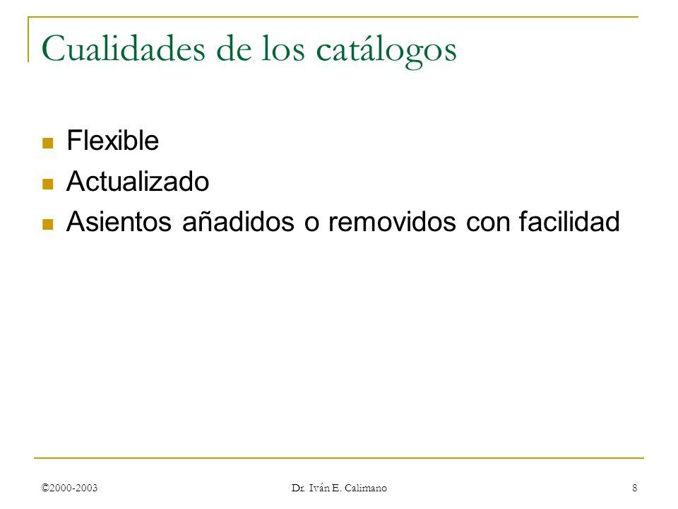 Cualidades de los catálogos