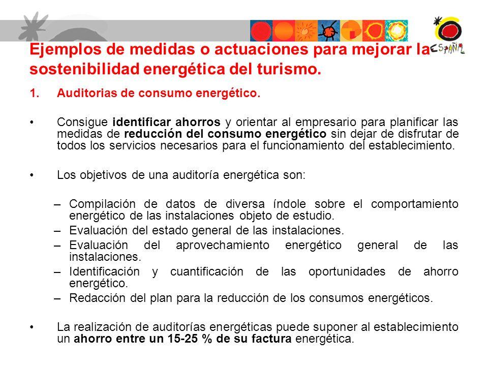 Ejemplos de medidas o actuaciones para mejorar la sostenibilidad energética del turismo.