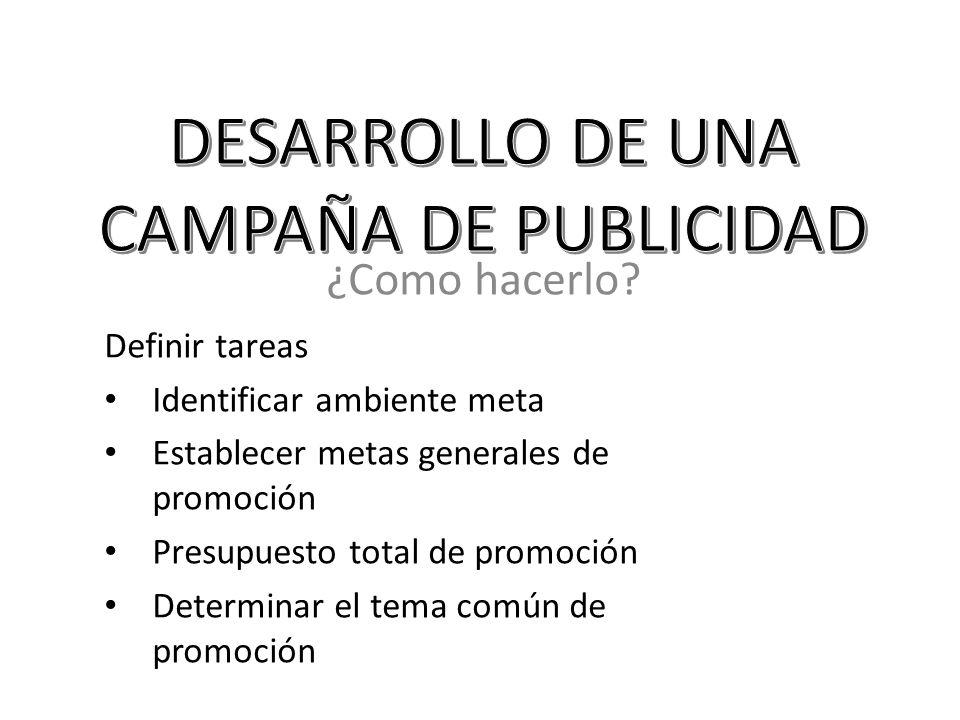 DESARROLLO DE UNA CAMPAÑA DE PUBLICIDAD